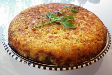 tortilla con lenteja roja calabacin y alga wakame